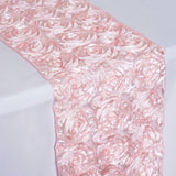 "Grandiose Rosette Satin Table Runner - 14"" x 108"" - Blush"