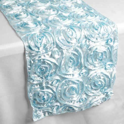 "14""x108"" Light Blue Grandiose Rosette Satin Table Runner"