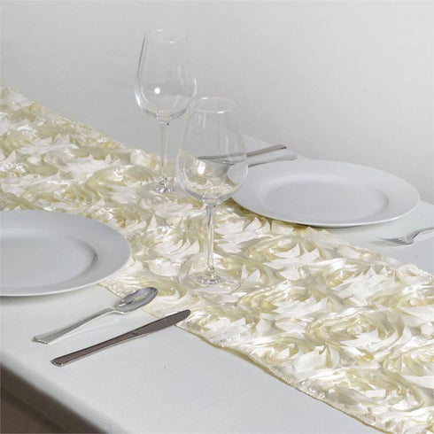 Wonderland Rosette Table Runners - Ivory