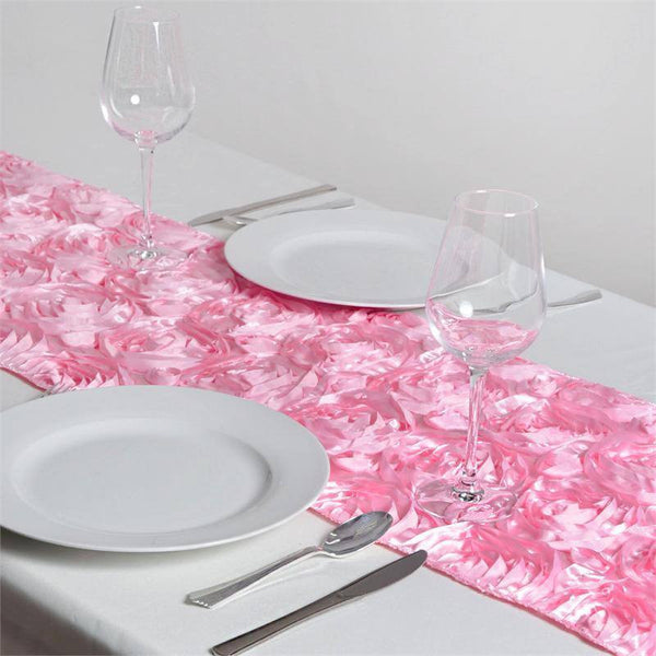 "14""x108"" Pink Grandiose Rosette Satin Table Runner"