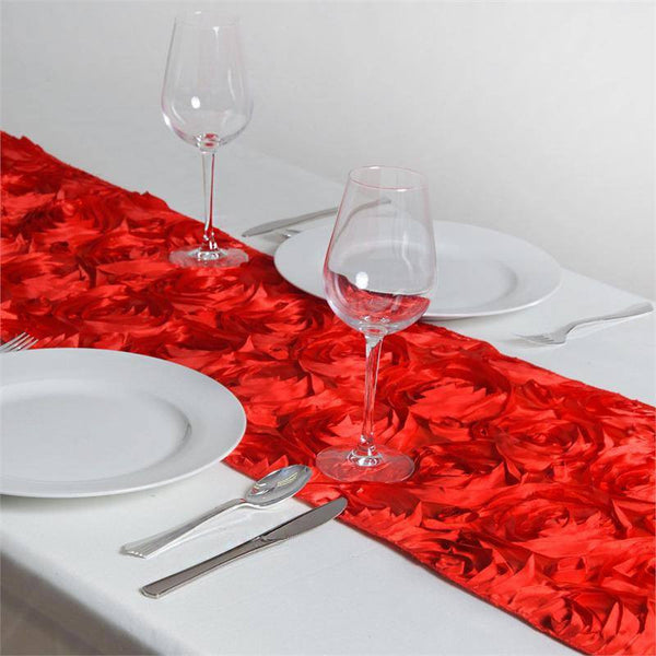 "14""x108"" Red Grandiose Rosette Satin Table Runner"