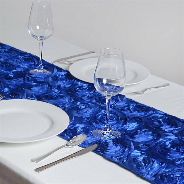 "14""x108"" Royal Blue Grandiose Rosette Satin Table Runner"
