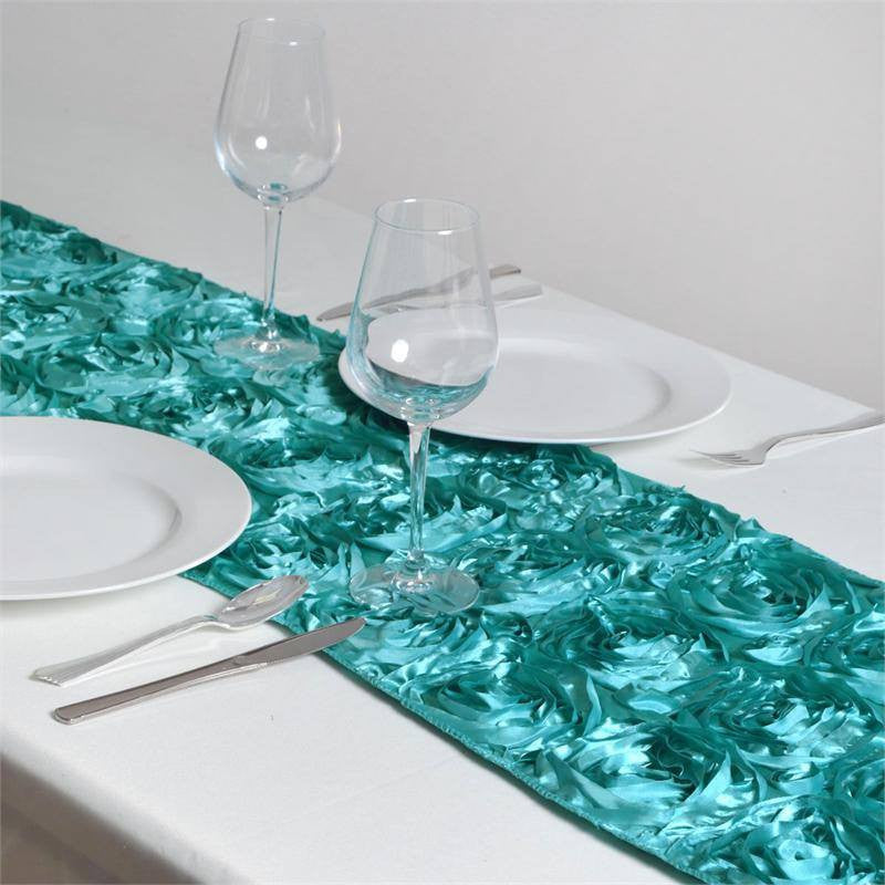 Delicieux Wonderland Rosette Table Runners   Turquoise