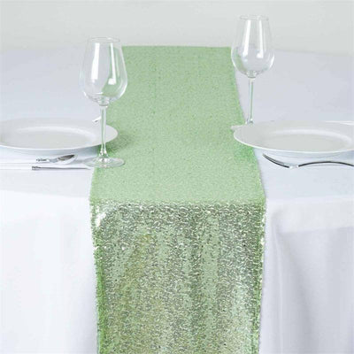 Extravaganza Duchess Sequin Runner - Tea Green