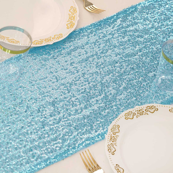"12""x108"" Serenity Blue Premium Sequin Table Runners"