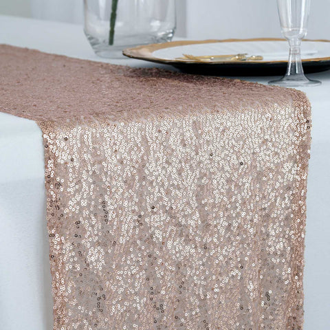 Blush Premium Sequin Table Runners - Table Top Wedding Catering Party Decorations  108x12""