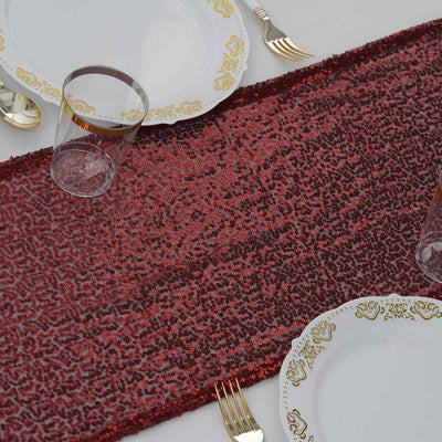 "Sequin Table Runners - 108"" x 12"" - Burgundy"