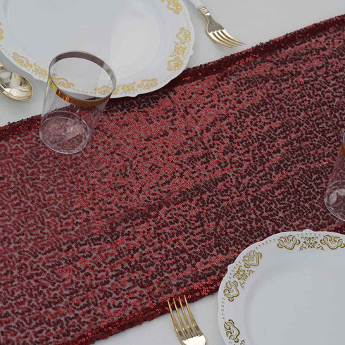 "12""x108"" Burgundy Premium Sequin Table Runners"