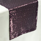 Eggplant Premium Sequin Table Runners - Table Top Wedding Catering Party Decorations  108x12""