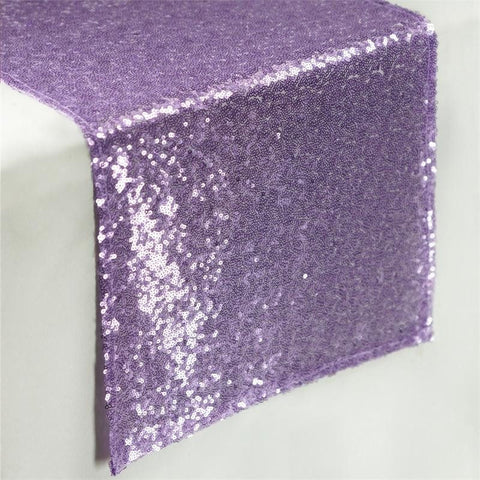 Lavender Sequin Table Runners - Table Top Wedding Catering Party Decorations 108x12""