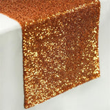 Orange Premium Sequin Table Runners - Table Top Wedding Catering Party Decorations  108x12""