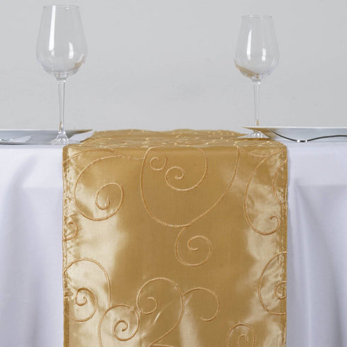 Bienvenue Fancy Swirls Table Runners Taffeta w/ Embroider Champagne