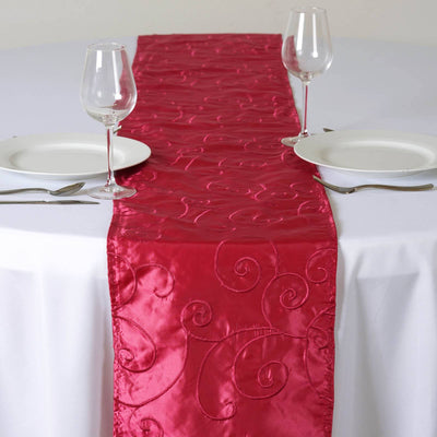 Bienvenue Fancy Swirls Table Runners Taffeta w/ Embroider Fushia