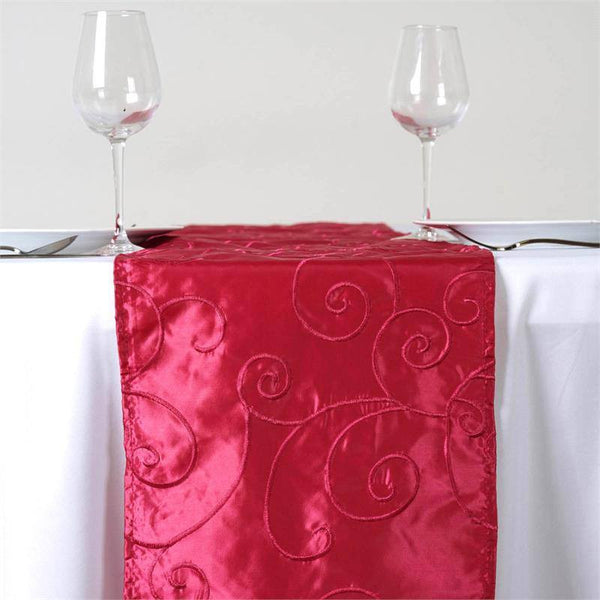 "12""x108"" Fushia Taffeta With Satin Embroidery Table Runner"