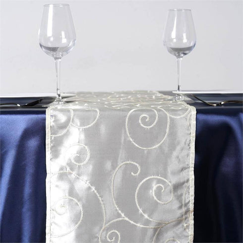 Bienvenue Fancy Swirls Table Runners Taffeta w/ Embroider Ivory