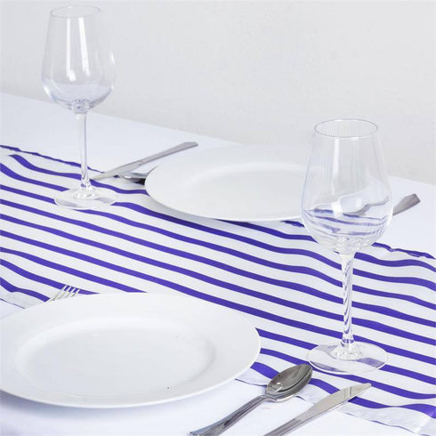 Ever Lovable Stripes Table Runner - White / Purple