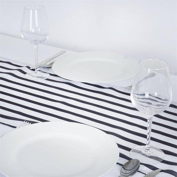 "12""x108"" Black/White Stripes Satin Table Runner"