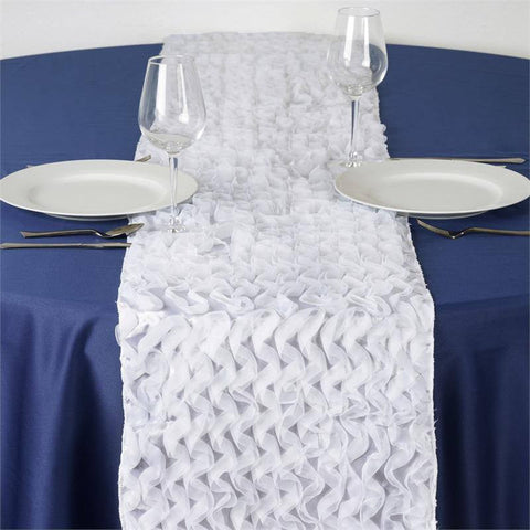 Pompous Puffilicious Satin Table Runner - White