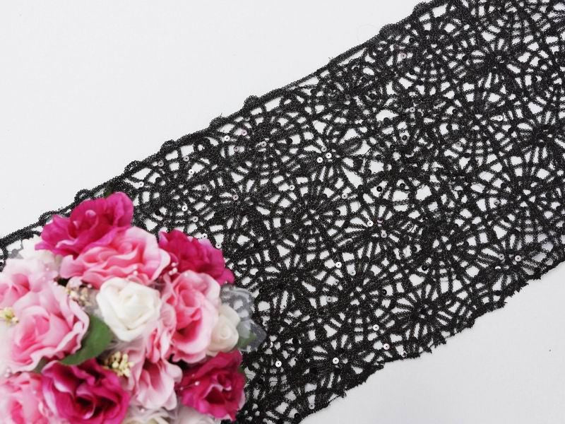 Sequin Beads Studded Lace Table Runner 14 x 108 Black eFavorMart