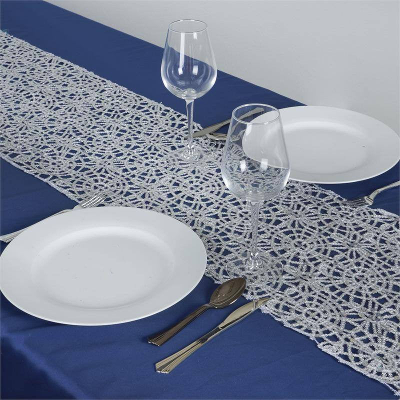 ... Sequin Studded Chemical Lace Table Runner Silver ...