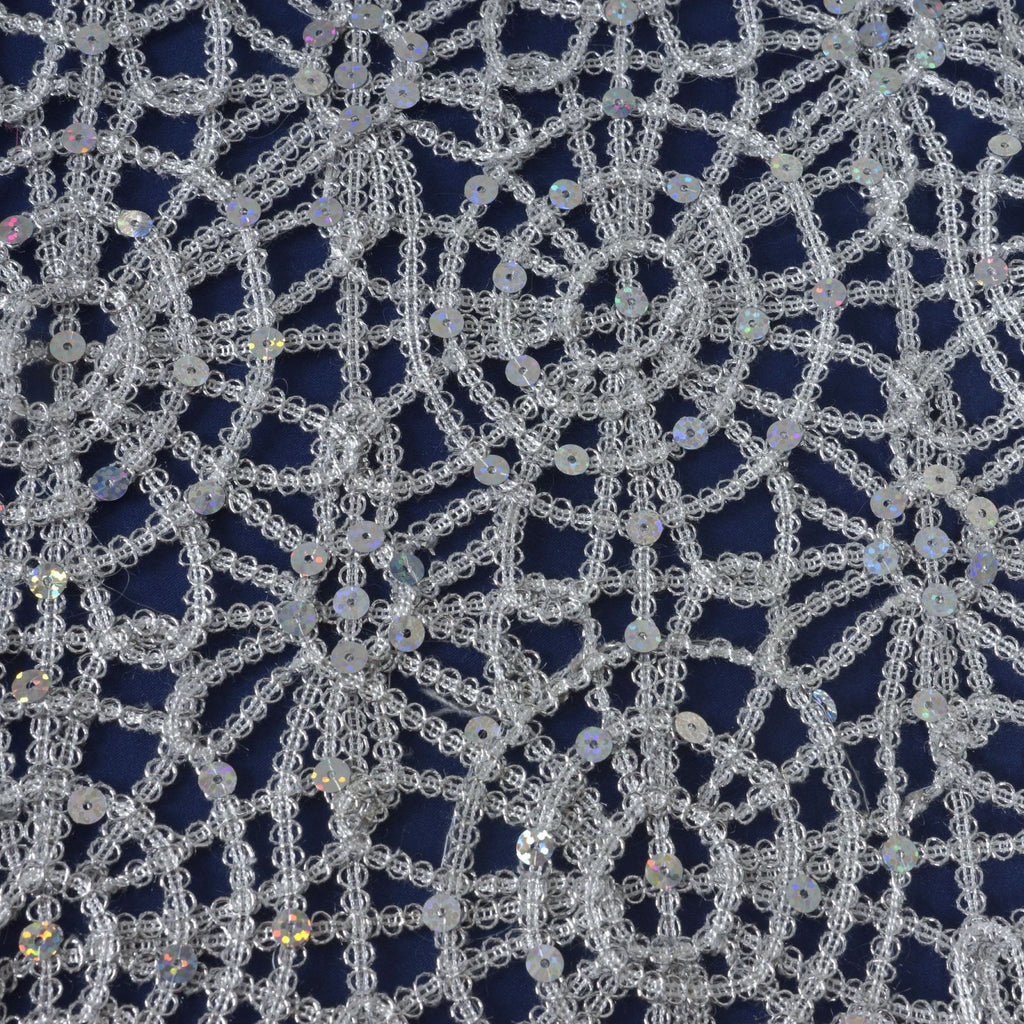 Wonderful ... Sequin Studded Chemical Lace Table Runner Silver