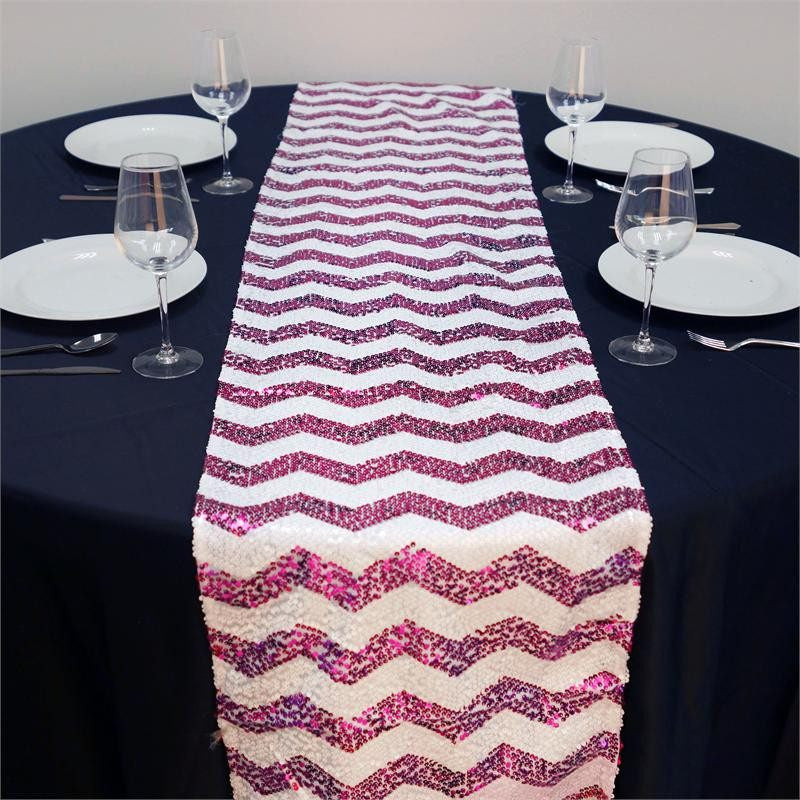 ALLURING Sequin Chevron Table Runners - Fushia / White