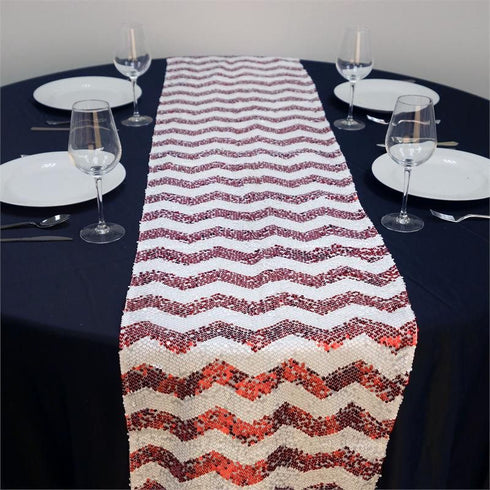 ALLURING Sequin Chevron Table Runners - Red / White