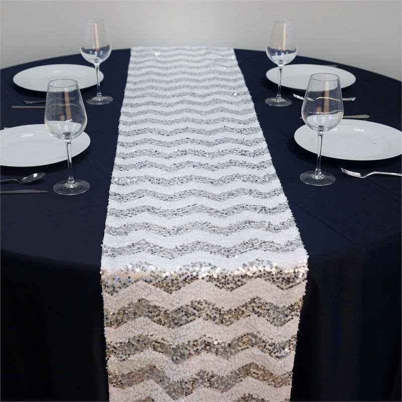 ... ALLURING Sequin Chevron Table Runners   Silver / White ...