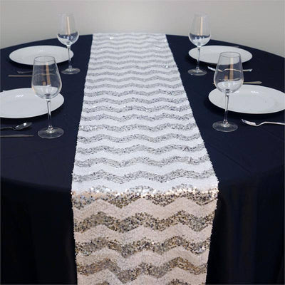 ALLURING Sequin Chevron Table Runners - Silver / White