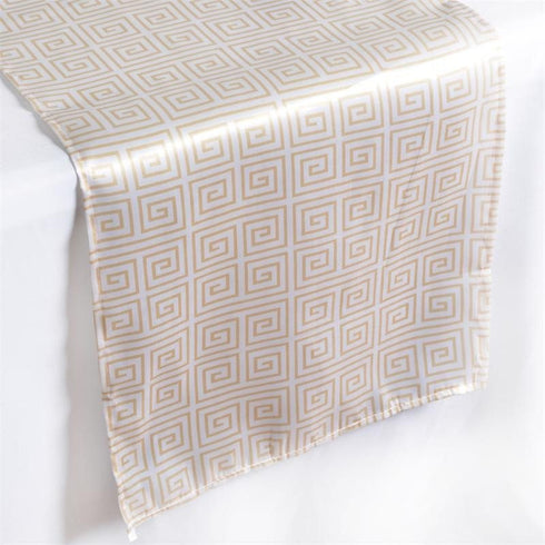 Anthenian Parthenon Inspired Satin Table Runner - Champagne