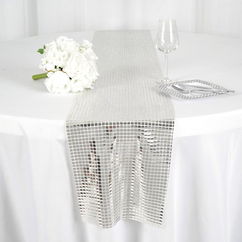 Silver DASHING Mirror Foil Table Runner