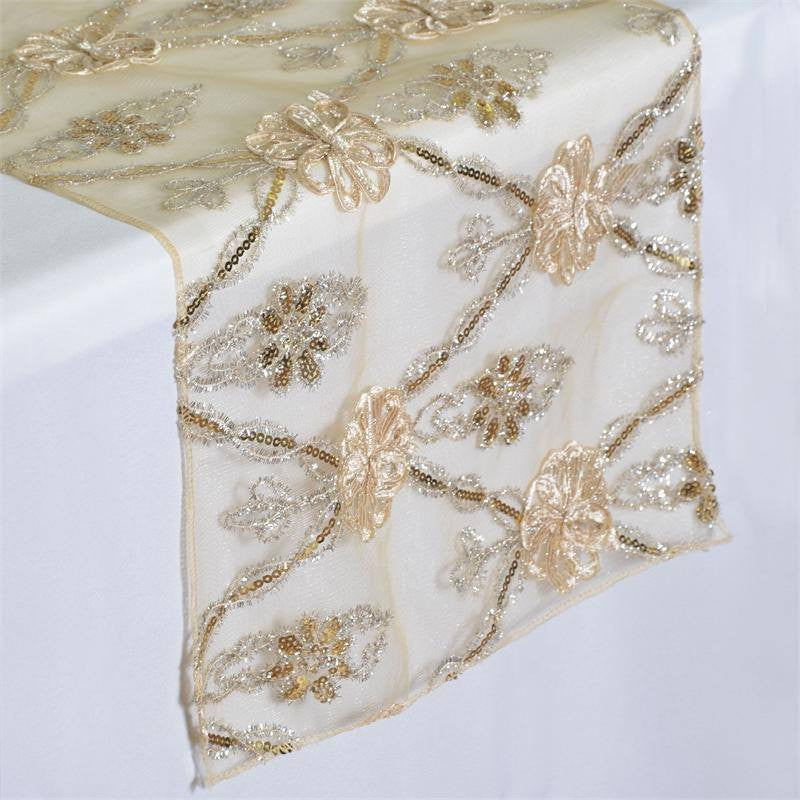 Extravagant Fashionista Style Table Runner - Champagne Lace Netting