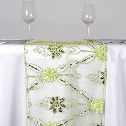 Sequin studded Lace Wedding Catering Table Runner with Floral Design - Tea Green