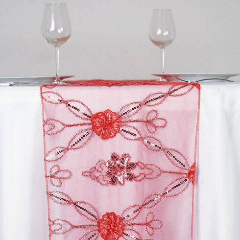 Sequin studded Lace Wedding Catering Table Runner with Floral Design - Coral