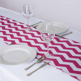 Jazzed Up Chevron Table Runners Fushia/White
