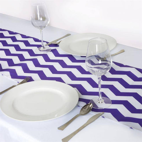 Jazzed Up Chevron Table Runners Purple/White