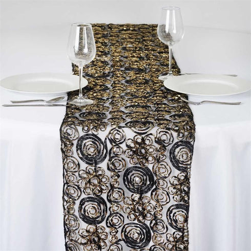 COUTURE Tulle Satin Table Runner Black Gold