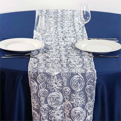 COUTURE Tulle Satin Table Runner Silver