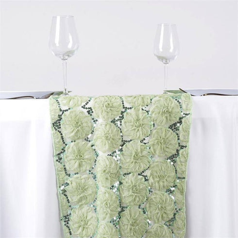 COUTURE Tulle Sequin Table Runner - color- reseda