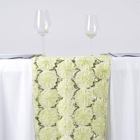 COUTURE Tulle Sequin Table Runner - Tea Green