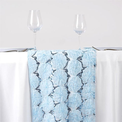 COUTURE Tulle Sequin Table Runner - Serenity Blue