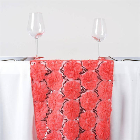 COUTURE Tulle Sequin Table Runner - Coral