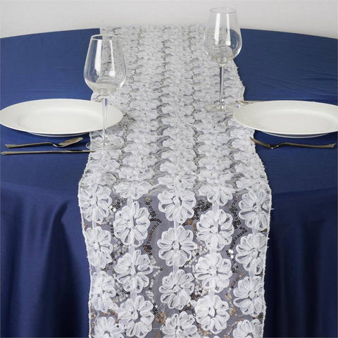 COUTURE Tulle Sequin Table Runner White