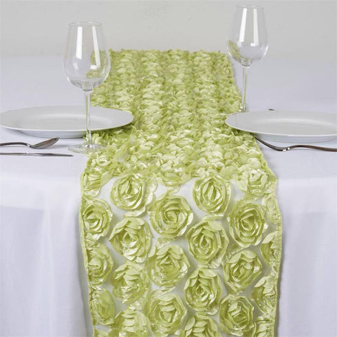 COUTURE Rosettes on Lace Runner - Tea Green
