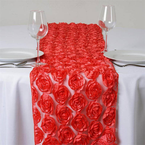 COUTURE Rosettes on Lace Runner - Coral