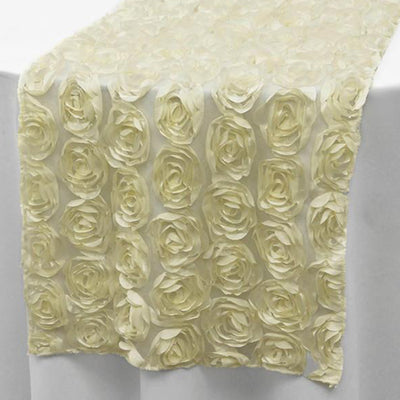 "Lace Table Runner With Rosette Flowers - 12"" x 108"" - Ivory"