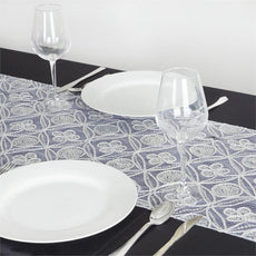 Psychedelic Chemical Sequin Table Runner - Silver