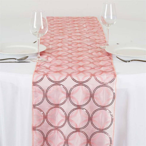 Glamorous Circle Sequin Table Runner - Rose Quartz