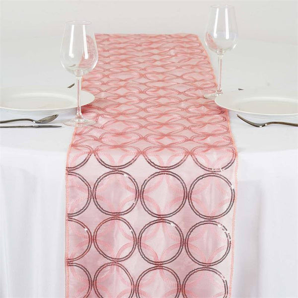 "14""x108"" Rose Quartz Sequin Circle Designs Table Runners"