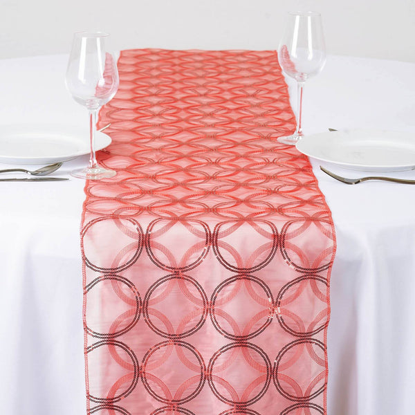 12 Quot X108 Quot Coral Sequin Circle Designs Table Runners